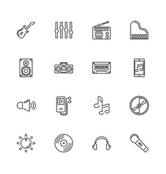 Music and sound - flat line icons vector