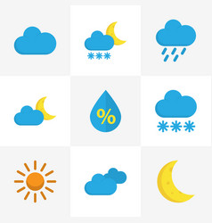 Nature flat icons set collection of cloud moon vector