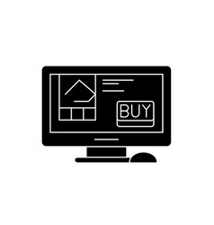 online retail black icon sign on isolated vector image