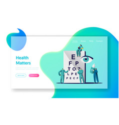 ophthalmologist doctor check eyesight landing page vector image