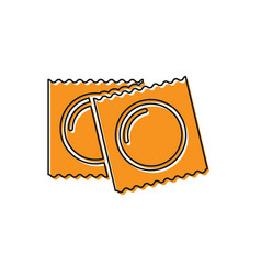 Orange condoms in package safe sex icon isolated vector