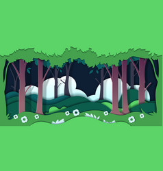 paper cut trees ecology concept with nature vector image