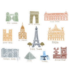 Paris city sights vector