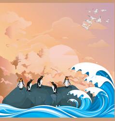 Penguins on rocky outcrop at dawn vector
