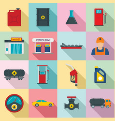 petrol station gas fuel shop icons set flat style vector image