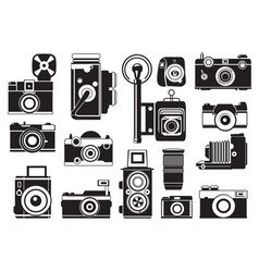 Pictures set of retro cameras monochrome vector