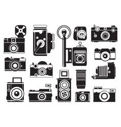 pictures set retro cameras monochrome vector image