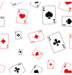 playing cards seamless pattern red and black vector image