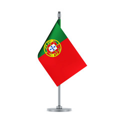 portuguese flag hanging on the metallic pole vector image