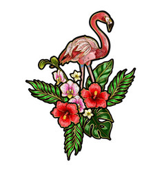 printflamingo embroidery patches vector image