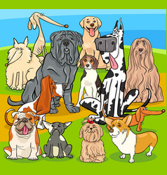 Purebred dogs cartoon characters group vector