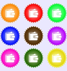 Purse icon sign A set of nine different colored vector image
