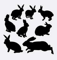 Rabbit funny and cute animal silhouette vector