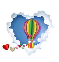 romantic couple in heart paper cut vector image