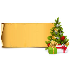 scroll with fir tree vector image
