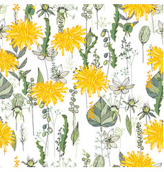 seamless pattern with daffodils and herbs endless vector image