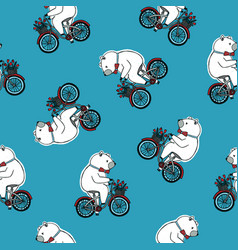Seamless pattern with funny cartoon circus bear vector