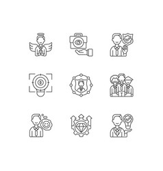 service with integrity linear icons set vector image