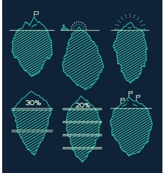 Set icebergs infographic linear style vector