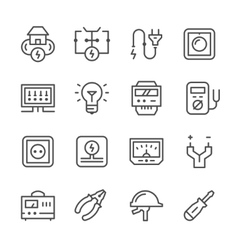 Set line icons of electricity vector
