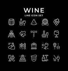 Set line icons wine vector