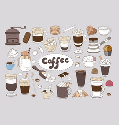 set of hand drawn different types of coffee on vector image