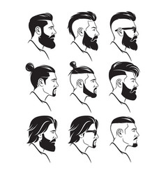 Set of silhouette bearded men faces hipsters style vector