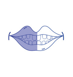 silhouette happy mouth with teeth design icon vector image