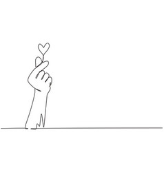 Single continuous line drawing korean heart sign vector