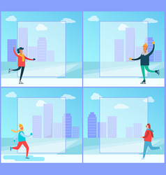 skating people and winter vector image