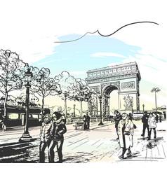 Sketch arc de triomphe in paris france seen vector