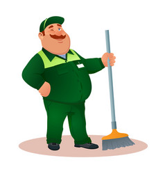 Smiling cartoon janitor with mop winks funny man vector