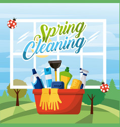 Spring cleaning bucket equipment with window and vector