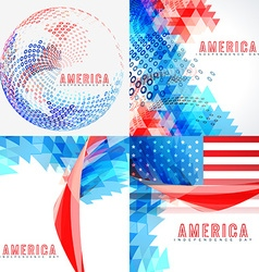 stylish set of american independence day vector image