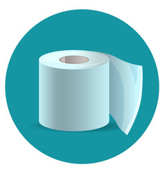 Toilet paper icon on blue web button vector