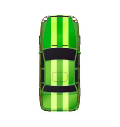 top view realistic glossy green sport car vector image