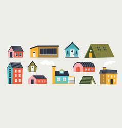 Trendy houses cartoon tiny buildings with hand vector