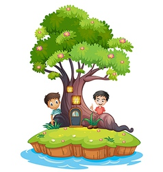 Two boys at back enchanted treehouse vector