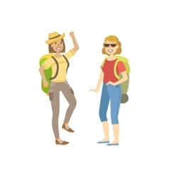 Two Women Going For A Hike With Backpacks vector