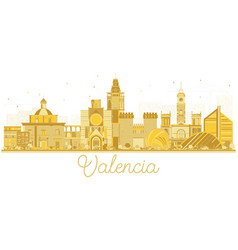 valencia spain city skyline silhouette with vector image