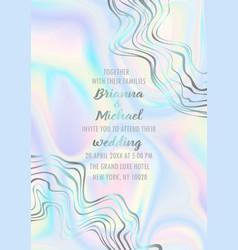 wedding holographic invitation card vector image