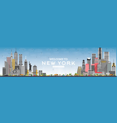 welcome to new york usa skyline with gray vector image