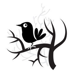 Whimsical bird and tree vector