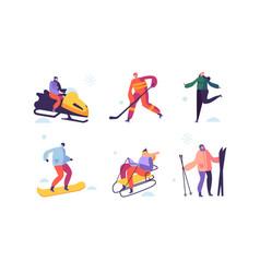Winter sport activities with characters skier vector