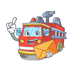 With envelope fire truck character cartoon vector