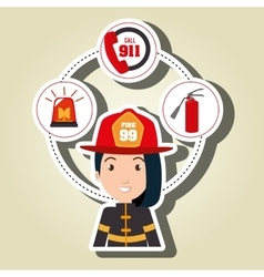 Woman firefighter extinguisher vector