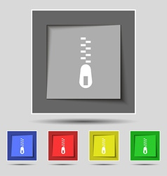 Zipper Icon sign on original five colored buttons vector