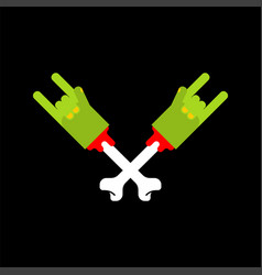 zombie rock hand isolated zombies rock and roll vector image