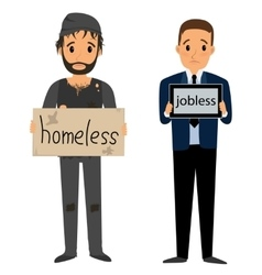 Homeless man in dirty old clothes vector image vector image
