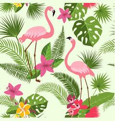 seamless pattern with flamingo tropical vector image vector image